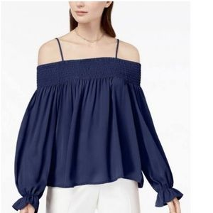 Ultra Flirt Navy Blue Off The Shoulder Top